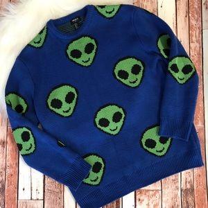 Forever 21 Sweater Alien Emoji Print Size Small